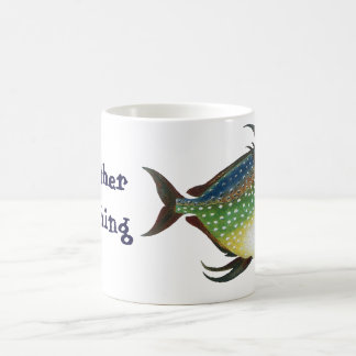 Vintage Fish, I'd Rather be Fishing Classic White Coffee Mug