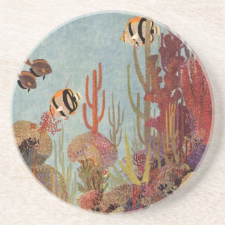 Vintage Fish in Ocean, Tropical Coral Angelfish Coaster