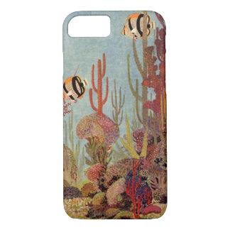 Vintage Fish in Ocean, Tropical Coral Angelfish iPhone 8/7 Case