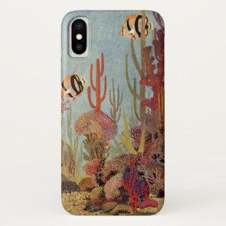 Vintage Fish in Ocean, Tropical Coral Angelfish iPhone X Case