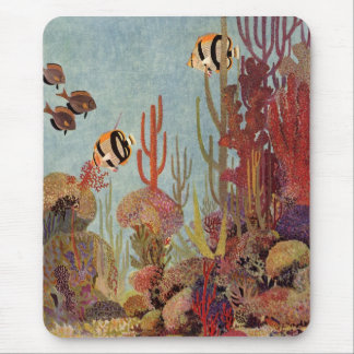 Vintage Fish in Ocean, Tropical Coral Angelfish Mouse Mat