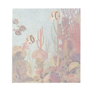 Vintage Fish in Ocean, Tropical Coral Angelfish Notepad