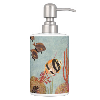 Vintage Fish in Ocean, Tropical Coral Angelfish Soap Dispenser And Toothbrush Holder
