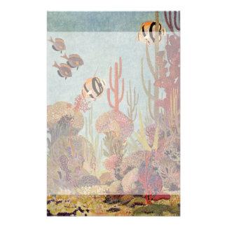 Vintage Fish in Ocean, Tropical Coral Angelfish Stationery