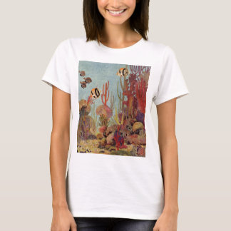 Vintage Fish in Ocean, Tropical Coral Angelfish T-Shirt