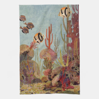 Vintage Fish in Ocean, Tropical Coral Angelfish Tea Towel