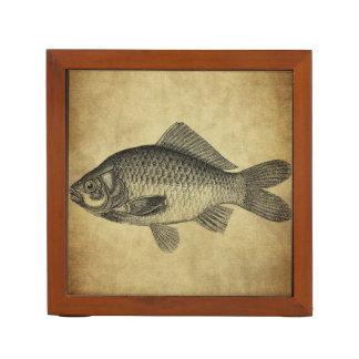 vintage fish ink stamps desk organiser