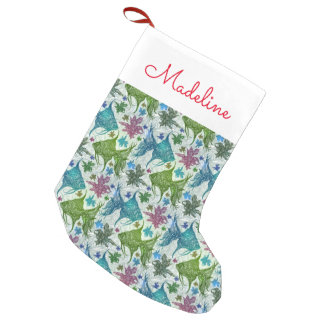 Vintage Fish Pattern | Add Your Name Small Christmas Stocking