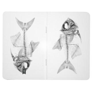 Vintage fish skeleton etching journals