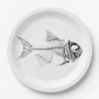 Vintage fish skeleton etching paper plate