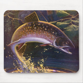 Vintage Fish, Sports Fishing Trout Catch n Release Mouse Pad