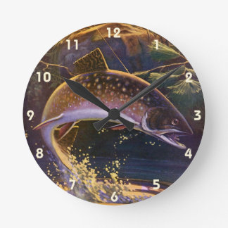 Vintage Fish, Sports Fishing Trout Catch n Release Round Clock