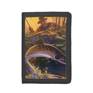 Vintage Fish, Sports Fishing Trout Catch n Release Tri-fold Wallet
