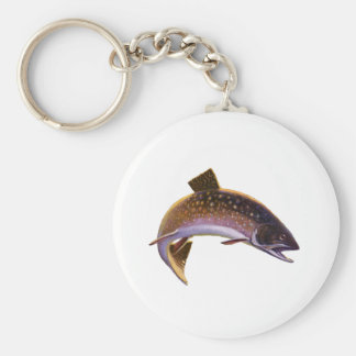 Vintage Fish, Sports Fishing Trout or Salmon Basic Round Button Key Ring