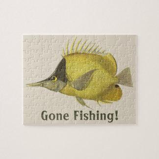 Vintage Fish, Yellow Tropical Chelmon Longirostris Jigsaw Puzzle