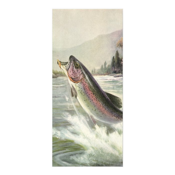 Vintage Fisherman Fishing Rainbow Trout Fish Personalized Rack Card