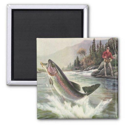Vintage Fisherman Fishing Rainbow Trout Fish Square Magnet