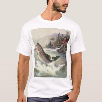 Vintage Fisherman Fishing Rainbow Trout Fish T-Shirt