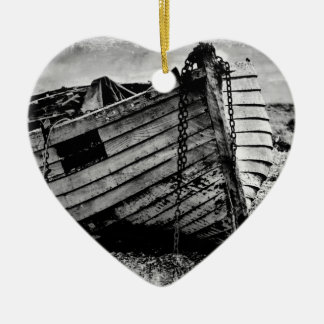 Vintage fishing boat. christmas ornament