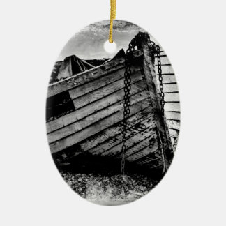 Vintage fishing boat. christmas ornament