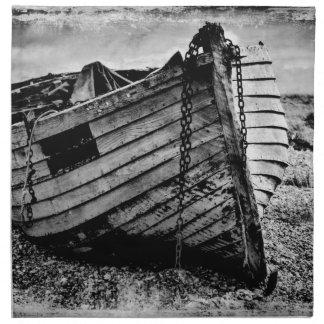 Vintage fishing boat. napkin