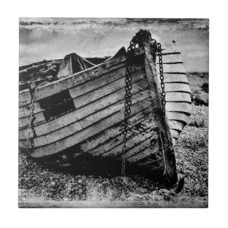 Vintage fishing boat. small square tile