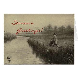 Vintage Fishing Christmas Greeting Card