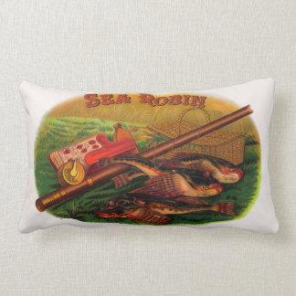 Vintage Fishing Gear Cigar Label Art, Sea Robin Lumbar Pillow