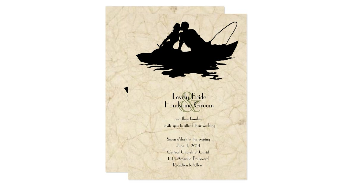 Vintage fishing lovers boat wedding invitation zazzle for Fishing wedding invitations