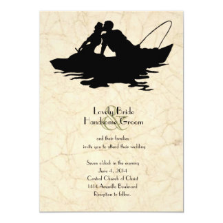 Vintage Fishing Lovers Boat Wedding Invitation
