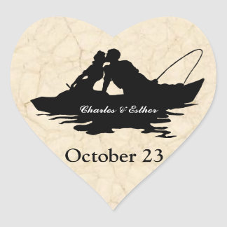 Vintage Fishing Lovers Save the Date Heart Sticker