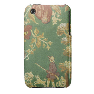 Vintage Fishing Scene Fabric Green Case-Mate iPhone 3 Case