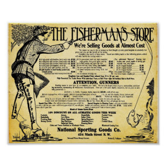Vintage Fishing Store And Tackle Print