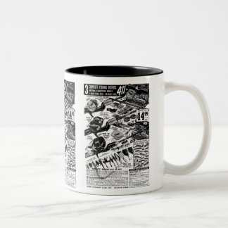 Vintage Fishing Tackle Ad Classic Kitsch Two-Tone Mug