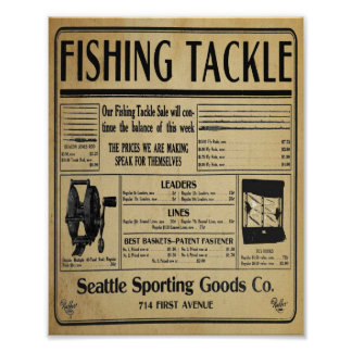 Vintage Fishing Tackle Store Print