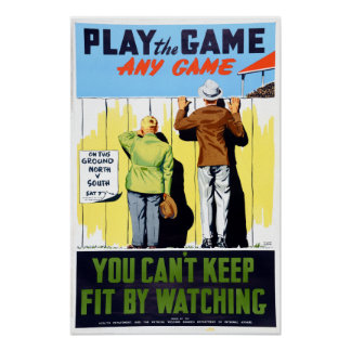 Vintage Fitness Play the Game Baseball Poster