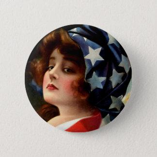 Vintage Flag Girl July 4th Stars Pretty Lady Art 6 Cm Round Badge