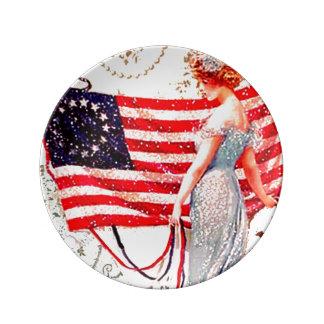 Vintage Flag Lady July 4th Porcelain Plates