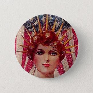 Vintage Flag Lady Liberty Patriotic July 4th 6 Cm Round Badge