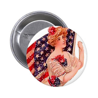 Vintage Flag Lady Victorian Gibson Girl July 4th 6 Cm Round Badge