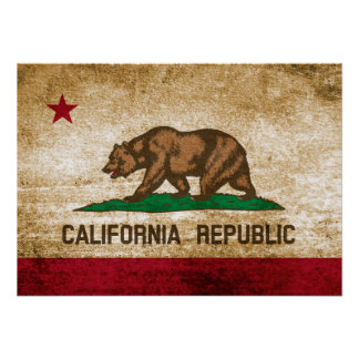 Vintage Flag of California Poster