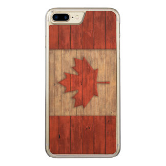 Vintage Flag of Canada Distressed Carved iPhone 7 Plus Case
