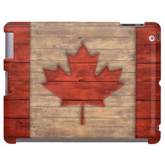 Vintage Flag of Canada Distressed Wood Design