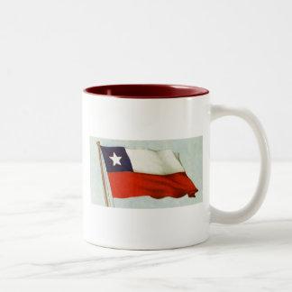 Vintage flag of chile La Roja Chilean flag gear Two-Tone Mug