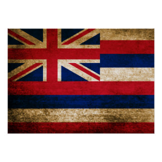 Vintage Flag of Hawaii Poster