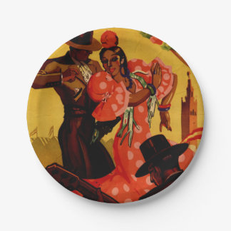 Vintage flamenco dancers Spanish 7 Inch Paper Plate