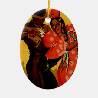 Vintage flamenco dancers Spanish Ceramic Oval Decoration