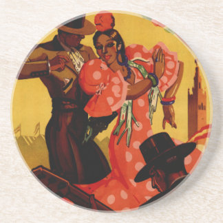 Vintage flamenco dancers Spanish Coaster
