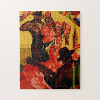 Vintage flamenco dancers Spanish Jigsaw Puzzle