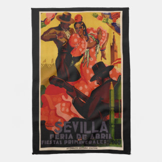 Vintage flamenco dancers Spanish Kitchen Towel